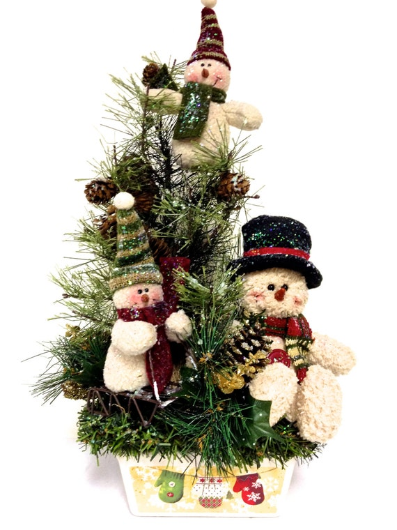 Snowman family winter arrangement christmas centerpiece