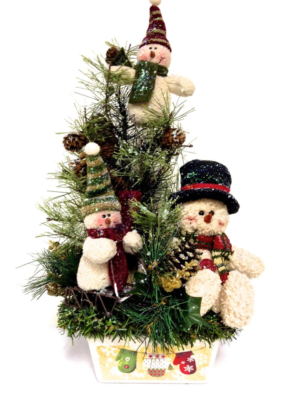 snowman family winter arrangement winter christmas centerpiece