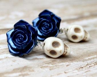 Skull Post Earrings Day of the Dead Blue Roses Sugar Skull Jewelry