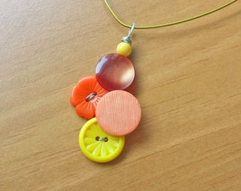 Yellow, Orange, and Peach Vintage Button Pendant Statement Necklace