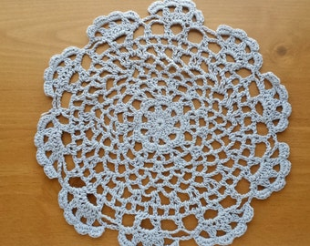 Large Gray Crocheted Doily about 7.5 to 8 inches across