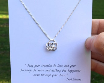 Irish Blessing - Small Silver Knot Necklace / Small Gold Knot Necklace / Abstract Celtic Knot / Blessing Gift Necklace