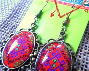 Bordado-Zarape Mexicano- Mexican Embroidery/ ZapareDesign -Frida Kahlo Inspired Antique Brass Metal Glass Earrings