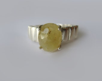 Natural Olive Green Sapphire In Sterling Silver Ring, 4.25ct. Size 6.25