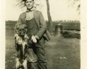 "Vintage Photo ""His Only Brother"" Dog Snapshot Photo Old Antique Photo Black & White Photograph Found Photo Paper Ephemera Vernacular - 143"
