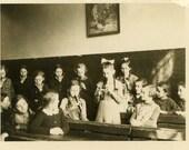 "Vintage Photo ""Music Lesson"" Snapshot Photo Old Antique Photo Black & White Photograph Found Photo Paper Ephemera Vernacular - 113"