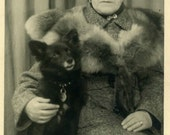 "Vintage Real Photo Postcard ""Her Loyal Friend"" Puppy Dog Pet Antique RPPC Photo Black & White Photograph Paper Ephemera Vernacular - 110"