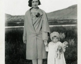 "Vintage Photo ""Little Miss Grumpy and Dolly"" Children Snapshot Antique Photo Black & White Photograph Found Paper Ephemera Vernacular - 112"