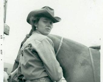"Vintage Photo ""The Last Cowgirl"" Snapshot Antique Photo Old Black & White Photograph Found Paper Ephemera Vernacular - 135"