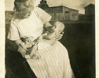 """Vintage Photo """"The First Grandchild"""" Children Baby Snapshot Antique Photo Old Black & White Photograph Found Paper Ephemera Vernacular - 139"""