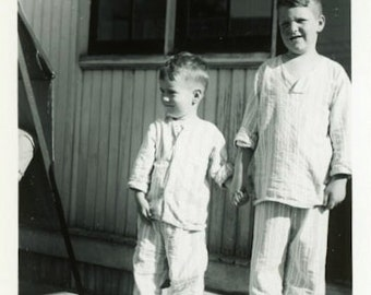 "Vintage Photo ""Pajama Buddies"" Children Barefoot Snapshot Photo Old Antique Black & White Photograph Found Paper Ephemera Vernacular - 39"