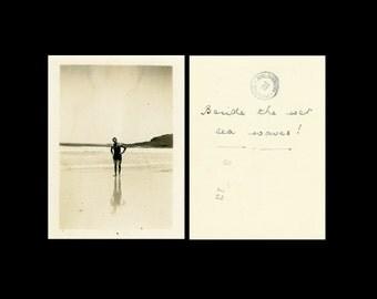 "Vintage Photo ""Walter Loves Waves"" Beach Bathing Suit Snapshot Photo Antique Black & White Photograph Found Paper Ephemera Vernacular - 106"