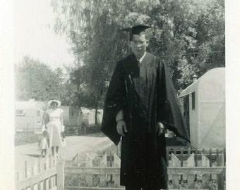 "Vintage Photo ""The Trailer Park Graduate"" Snapshot Photo Old Antique Photo Black & White Photograph Found Photo Ephemera Vernacular - 194"