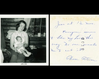 "Vintage Photo ""Mother's Hair Style"" Note Snapshot Photo Old Antique Photo Black & White Photograph Found Photo Ephemera Vernacular - 194"