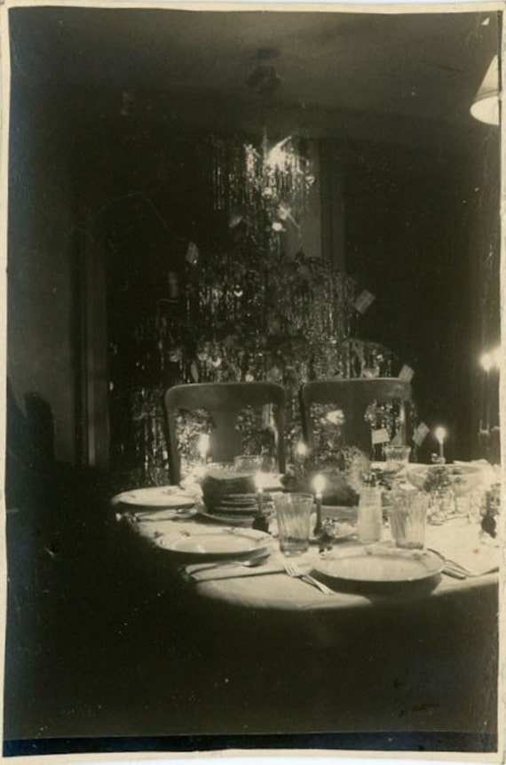 "Vintage Photo ""Christmas Dinner"" Snapshot Photo Old Antique Photo Black & White Photograph Found Photo Paper Ephemera Vernacular - 158"