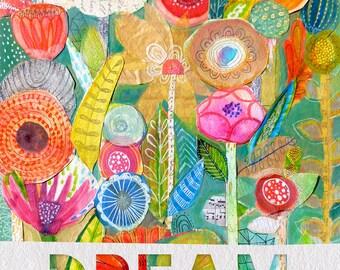 Flower Garden - Mixed Media Collage - Wall Art Decor - Customizable Art Print