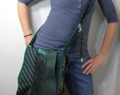 Necktie Messenger Bag Forest Green Tied