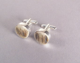 Elk Antler Cuff Links Handmade Antler Gifts for Dad Fathers Day Gift Rustic Wedding Gifts for Hunters Gifts for Him - Ready to Ship