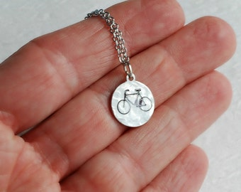 Bicycle Necklace, silver hand stamped aluminum metal charm pendant hammered jewelry minimal tiny bike biking travel graduation gift gifts