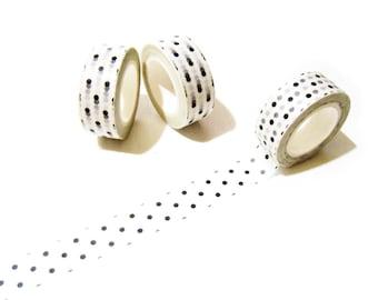 Black Polka Dots Washi Tape - 10 mt Planner Polka Dots Masking Tape - Scrapbooking Washi Tape - Polka Dots Washi Tape 15 mm x 10 mt