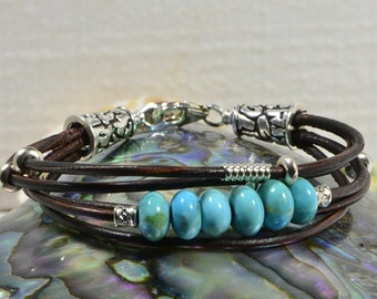 Turquoise Bracelet Turquoise and Leather bracelet wrap turquoise and leather bracelet leather and turquoise bracelet