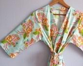 Kimono Robe. Mint Kimono Robe. Dressing Gown. Kimono. Mint Luxe Happiness. KNEE and MID CALF Length. Small thru Plus Size Kimono Robes 2XL.