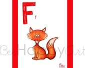 F is for Fox - ABC Wall Art - Nursery Wall Art for kids - Animal Alphabet - Children's Nursery Art Print - Kid's Art - Nursery decor