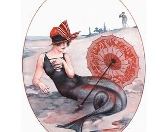 Mermaid Print | Sits on Beach with Parasol | Repro Herouard La Vie Parisienne