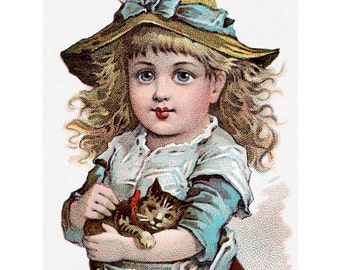 Kitten Girl Card | Cat Lovers Greeting Card | Vintage Style Notecard