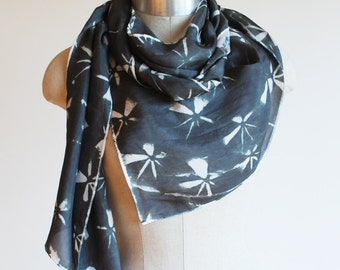 geometric scarf, black and white silk scarf