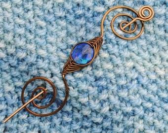 Blue and Bronze Shawl Pin