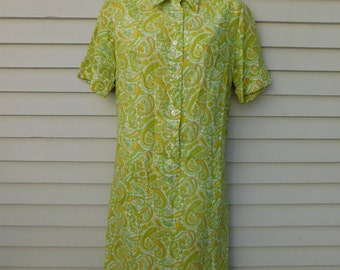 Vintage Green Paisley Shirtwaist Dress By Countrywise, House Dress