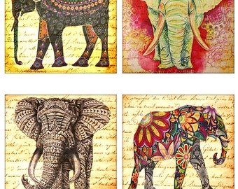"Elephant Pacaderm Africa Circus Animal 4"", 3.5"", 2"" Squares Instant Download JPEG (16-11)"