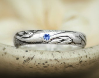 Classic Art Nouveau Wedding Band With Inset Blue Sapphire In Sterling -  Silver Men's Engagement Ring - Unisex Pattern Wedding Ring
