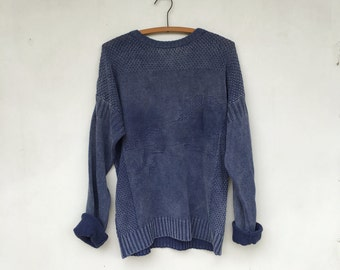 Vintage 90s Indigo Dyed Knit Horse Sweater Sportific Miller's Kristin Collection L