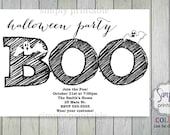 Halloween Party Invitation, Halloween Invite, Printable Party, Digtial, Black and White Halloween Invitation