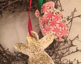 Angel and Mitten Salt Dough Ornaments