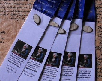 U.S. History Bookmarks - with a piece of the tree growing next to the grave of Benjamin Franklin
