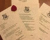 Handmade HP Hogwarts Letter-  Acceptance Letter