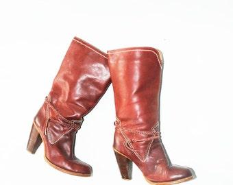 Vintage 70s Burgundy Mid Calf Boot sz 8