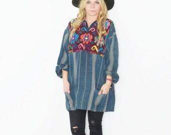Vintage Ethnic Embroidered Indigo Blouse , Denim Tunic , Oversize Shirt