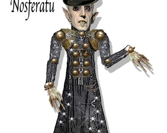 Printable Halloween puppet Nosferatu, Dracula, Vampire Doll Gothic craft sheet. collage kit