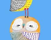 Nursery art baby nursery decor nursery print Kids art illustration print - ''Cheeky Owls''.
