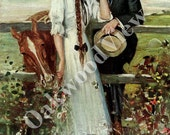 The Country Girl Print by Clarence Underwood, Beautiful Woman & Handsome Man, Horse, 8x11, Vintage 1912 Art, Romantic Edwardian Couple