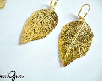 Gold leaf earrings, gold leaves earrings, golden leaves earrings, golden leaf earrings, leaf, leaves, gold, golden, brass leaves, brass