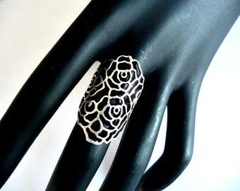 Boho Ring, Bohemian ring, long ring, wide ring, filigree ring, silver ring, shield ring, pattern ring, silver pattern ring, knuckle ring,