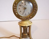 Brass CLOCK w 3 Claw Foot Legs Round Bubble Glass for Desk Shelf - for Repair w FREE SHIPPING