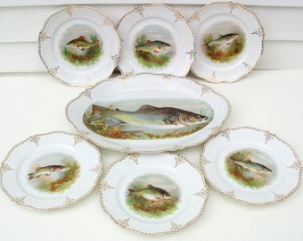 Antique Fish Plates Set, Fish Platter, O&EG Royal Austria, Victorian Table, Set of 7 - Red Yellow Blue Green