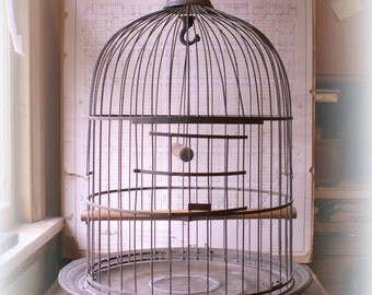 Vintage Huge Brass Hendryx Birdcage - Great Wedding Decor!