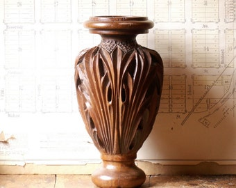 Hand Carved Vintage Wood Architectural Piece - Candle Holder - Newel Post